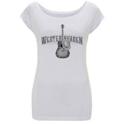 Westernhagen T-Shirt Gitarre Damen Girlie white